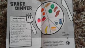 star apprentice chloe, space dinner, principia space diary