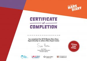 Mars Diary Certificate Tim Peake Sue Horne UKSA UK Space Agency Teacher Resources