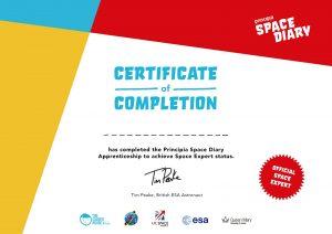 Principia Diary Certificate Tim Peake Sue Horne UKSA UK Space Agency Teacher Resources Graduation