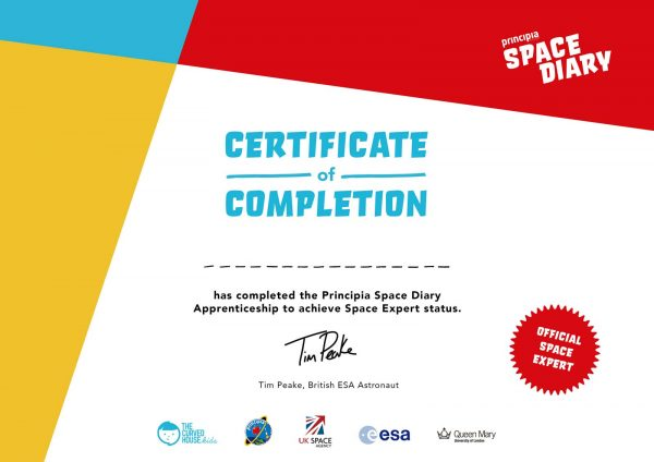 Principia Space Diary Completion Certificate